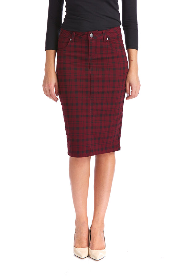 Esteez MELROSE Skirt - Powerstretch Jean Skirt for WOMEN - BURGUNDY PLAID