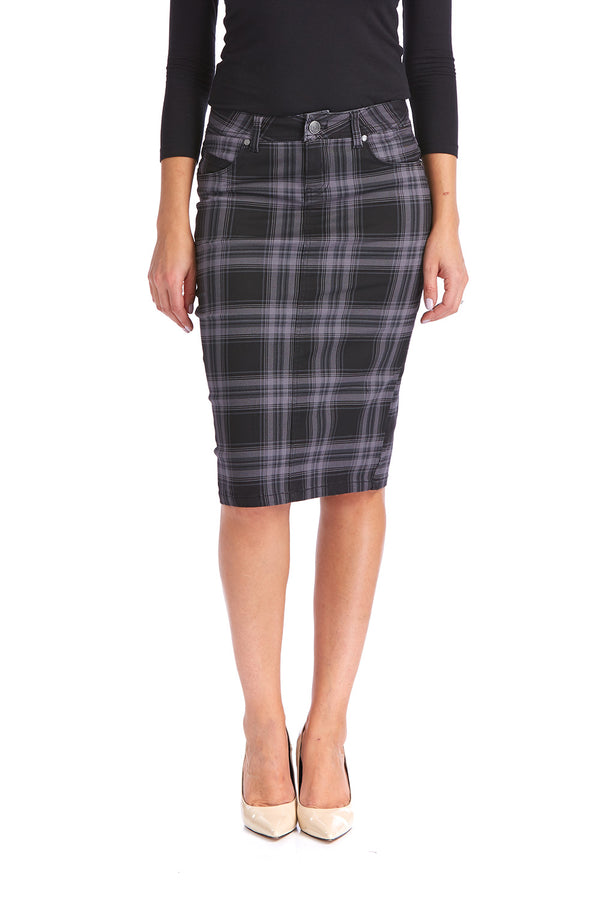 Esteez MELROSE Skirt - Powerstretch Jean Skirt for WOMEN - GREY PLAID