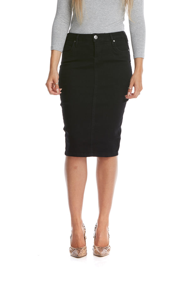 Esteez MIAMI Skirt - Powerstretch Jean Skirt with Tummy Control for WOMEN - BLACK