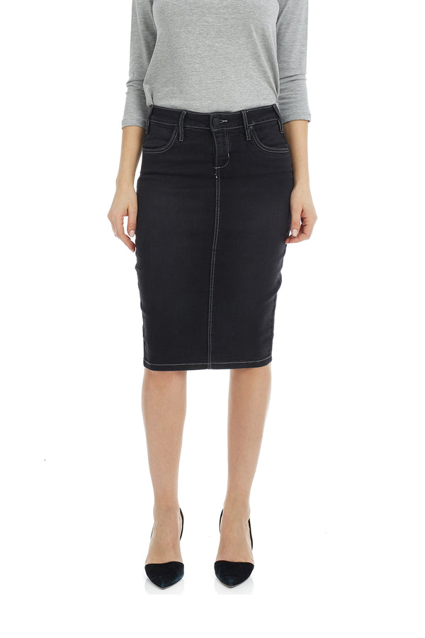Esteez MIAMI Skirt - Powerstretch Jean Skirt with Tummy Control for WOMEN - BLACK STONEWASH