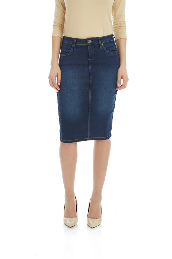 Esteez MIAMI Skirt - Powerstretch Jean Skirt with Tummy Control for WOMEN - BLUE