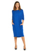Esteez MONICA Dress – Women's Casual Dress - 3/4 Bat Wing Sleeves - Loose Fit - COBALT - CLEARANCE