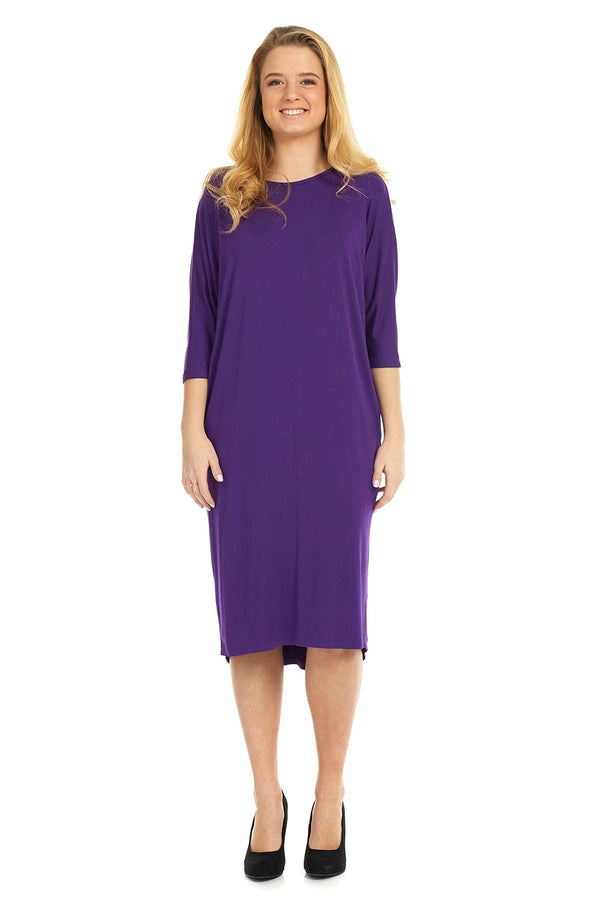 Esteez MONICA Dress – Women's Casual Dress - 3/4 Bat Wing Sleeves - Loose Fit - PURPLE