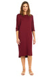 Esteez MONICA Dress – Women's Casual Dress - 3/4 Bat Wing Sleeves - Loose Fit - WINE