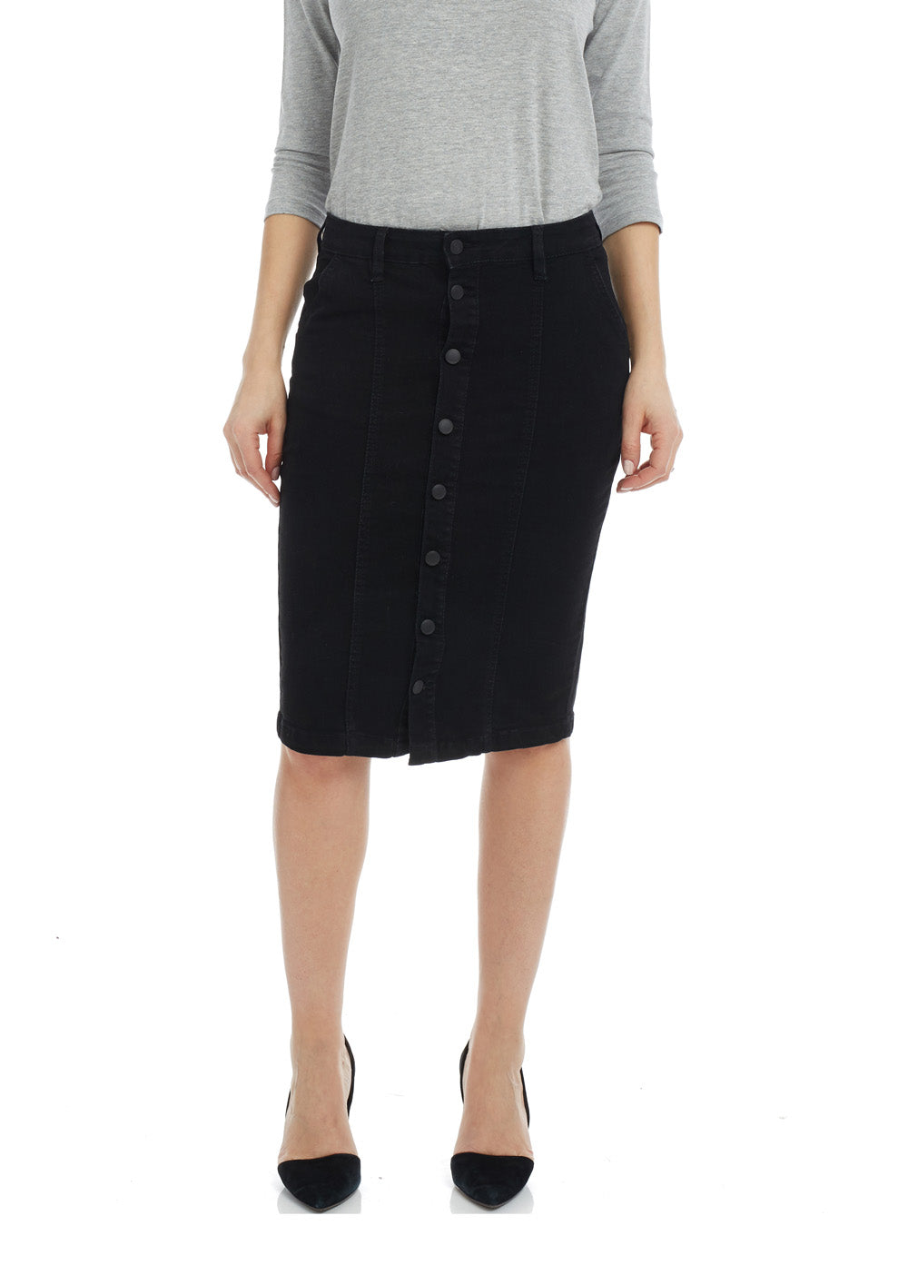 Esteez MONTREAL Skirt - Button Down Denim Skirt for WOMEN - BLACK