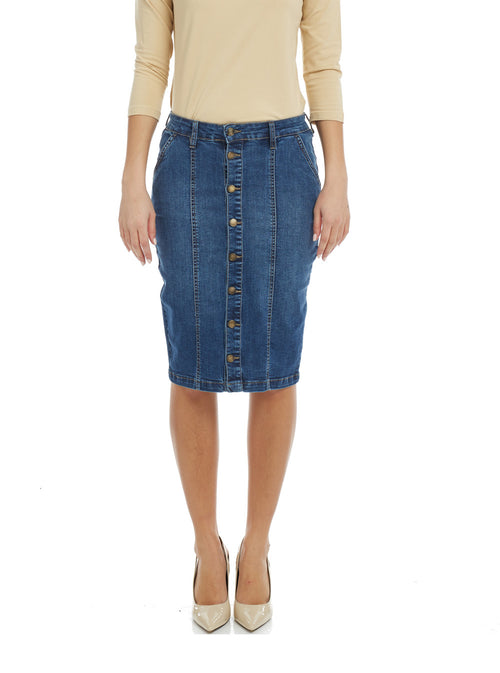 Esteez MONTREAL Skirt - Below the Knee Button Down Jean Skirt for WOMEN