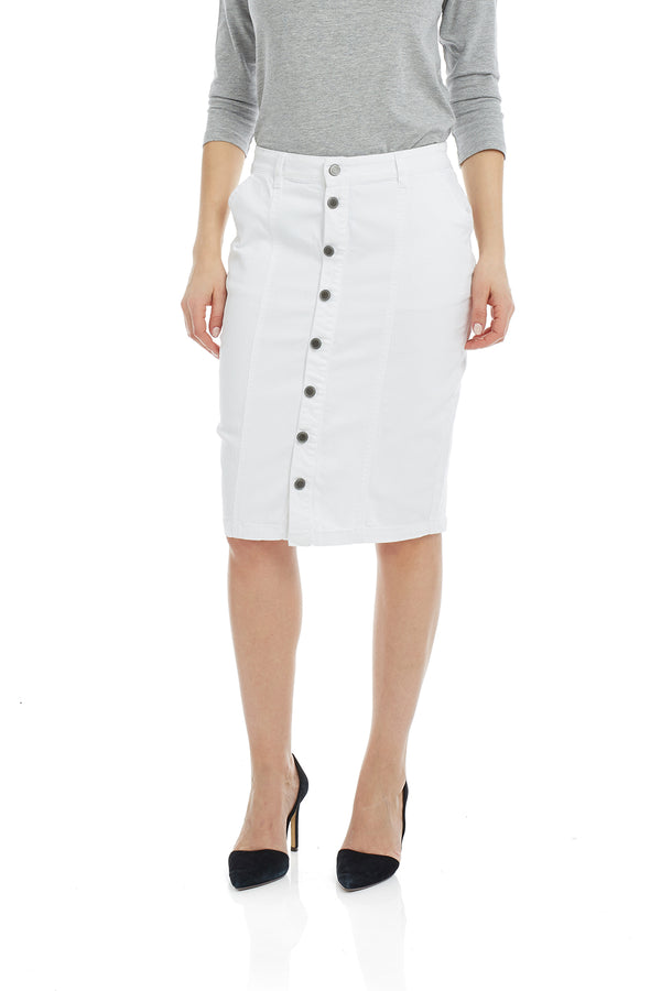 Esteez MONTREAL Skirt - Button Down Denim Skirt for WOMEN - WHITE