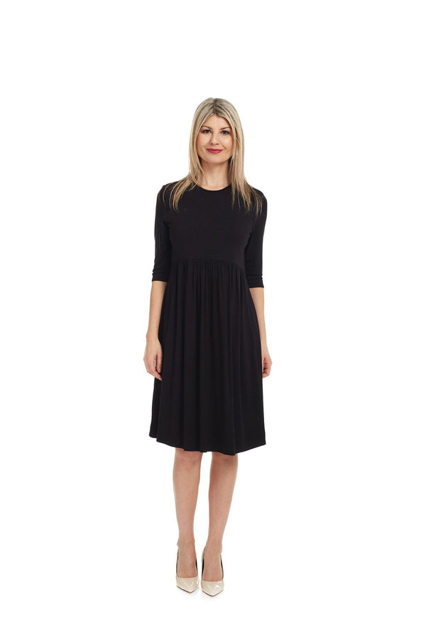Esteez RACHEL Dress – Women's Babydoll Dress - Empire Waist  - 3/4 Sleeve - BLACK
