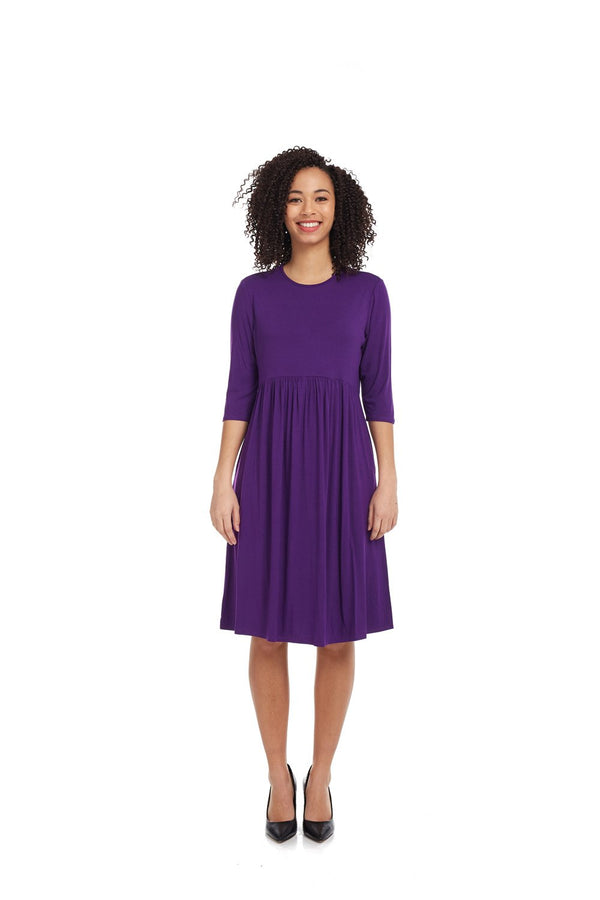 Esteez RACHEL Dress – Women's Babydoll Dress - Empire Waist - 3/4 Sleeve - PURPLE
