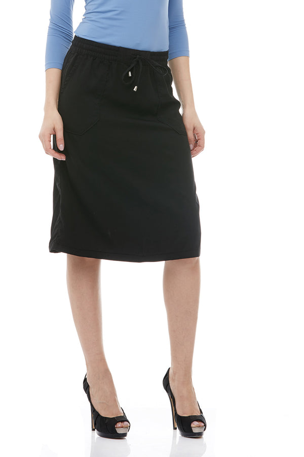 Esteez SAVANNAH Skirt - Below the Knee A-Line Skirt for Women 100% Tencel - BLACK