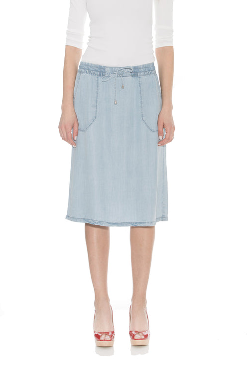 Esteez SAVANNAH Skirt - Below the Knee Denim Skirt for Women 100% Tencel