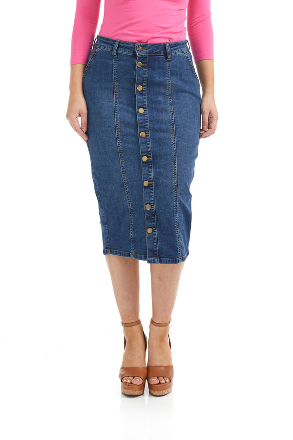 Esteez SEATTLE Skirt - Button-down Denim Skirt for WOMEN