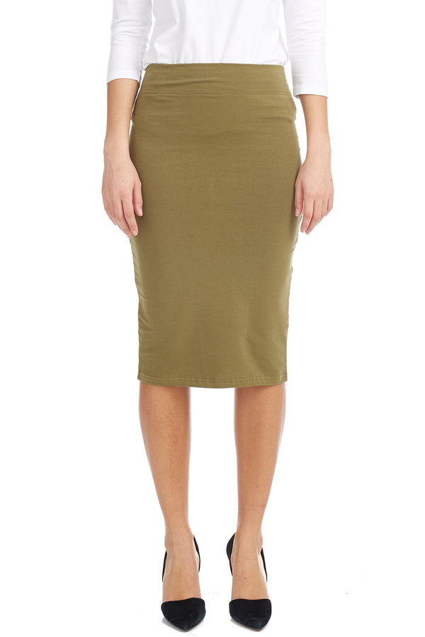 Esteez Shell Skirt - Cotton Lycra Lightweight Pencil skirt for WOMEN - ARMY GREEN