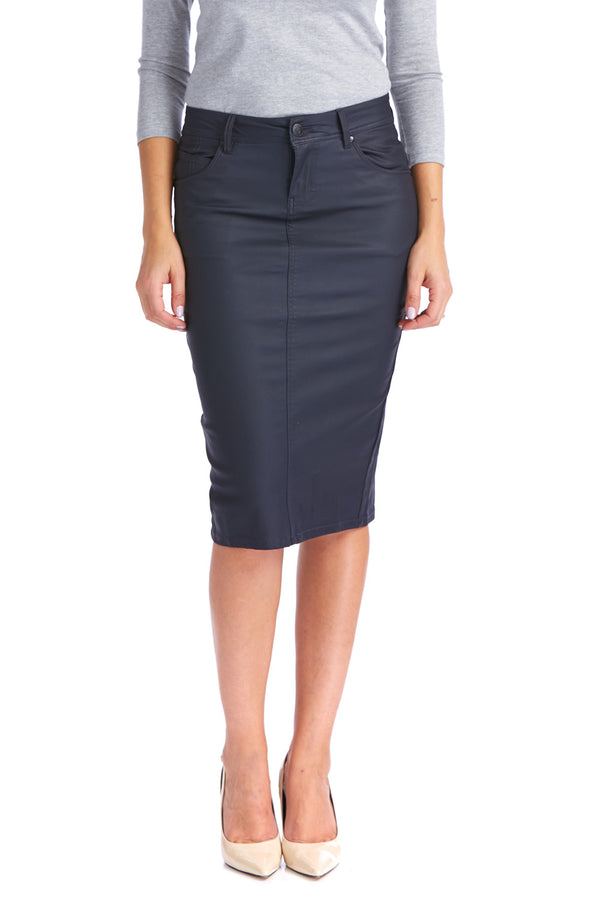Esteez LONDON Skirt - Coated Denim Skirt for WOMEN - NAVY