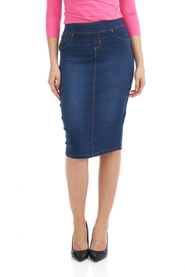 ESTEEZ SIENA SKIRT - High waisted Jean Skirt for women - BLUE
