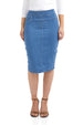 ESTEEZ SIENA SKIRT - High waisted Jean Skirt for women - LIGHT BLUE