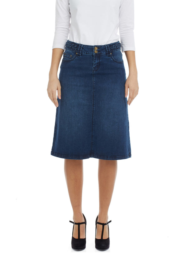 Esteez SYDNEY Skirt - Modest Below the Knee A-line Jean Skirt for Women - BLUE