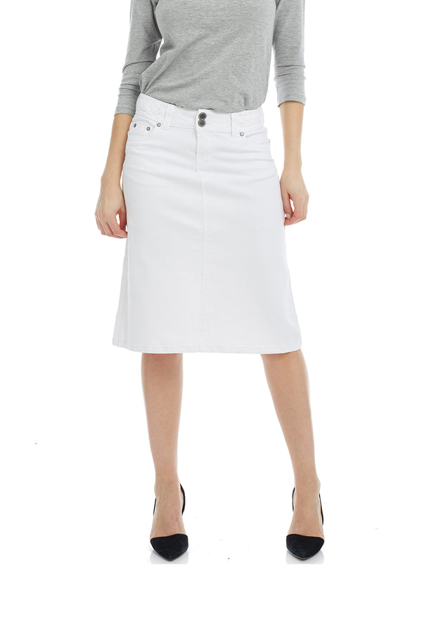 Esteez SYDNEY Skirt - Modest Below the Knee A-line Jean Skirt for Women - WHITE
