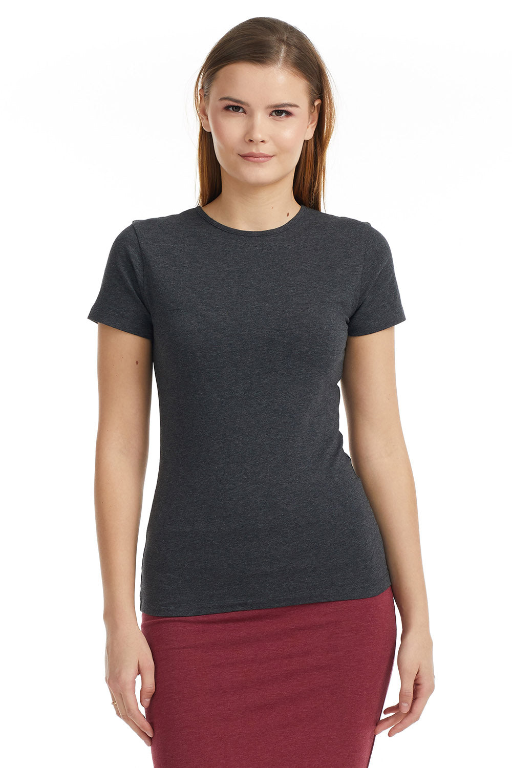 Esteez Short Sleeve Cotton Spandex Layering T-Shirt for WOMEN – CHARCOAL