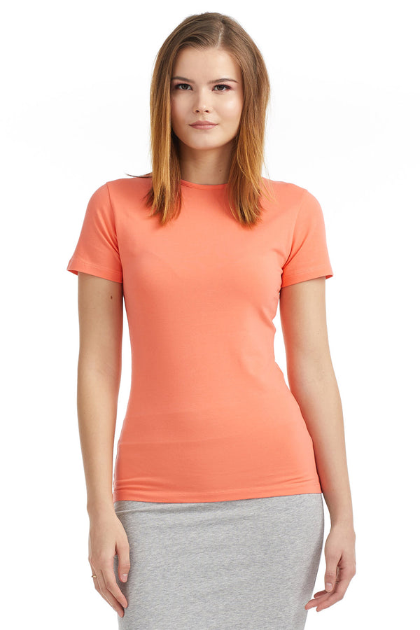 Esteez Short Sleeve Cotton Spandex Layering T-Shirt for WOMEN - CORAL