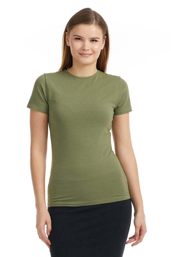 Esteez Short Sleeve Cotton Spandex Layering T-Shirt for WOMEN - OLIVE