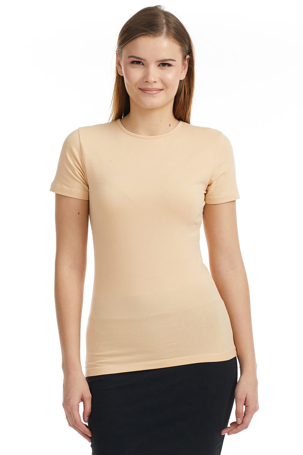 Esteez Short Sleeve Cotton Lycra T-Shirt for WOMEN – TAN