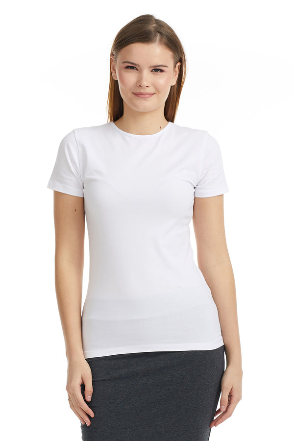 Esteez Short Sleeve Cotton Spandex Layering T-Shirt for WOMEN - WHITE