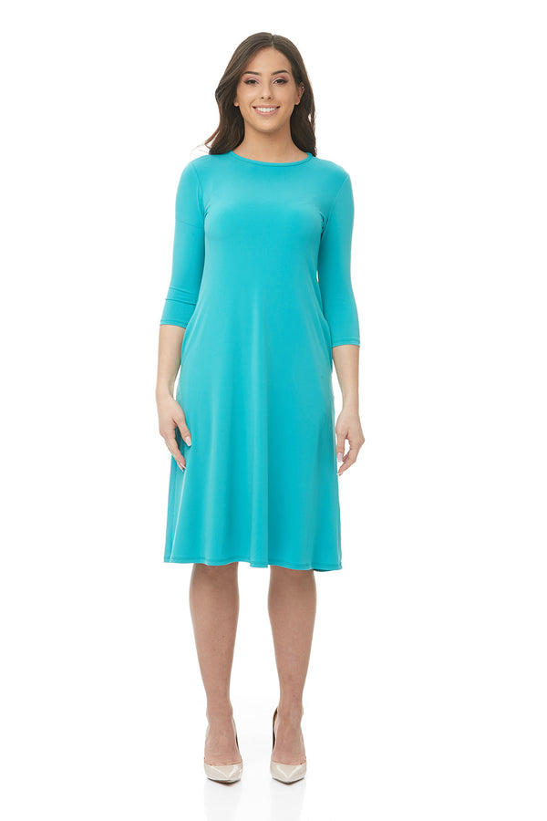 Esteez TAMMEE Dress - Womens Classic Fit n' Flare Dress with pockets - TEAL