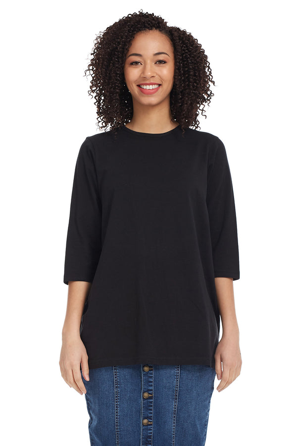 Esteez Loose Tee - Women's 3/4 Sleeve - Loose Fitting T-Shirt - BLACK