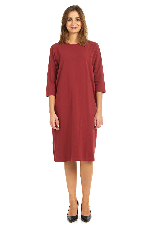 Esteez TEE Dress - Women's Casual Shift Dress - 3/4 Sleeves - BURGANDY