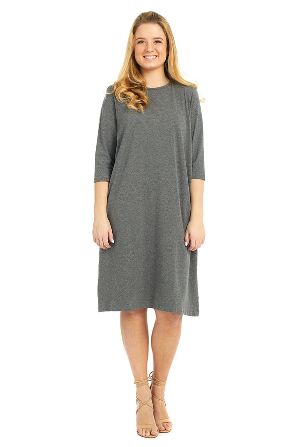 Esteez TEE Dress - Women's Casual Shift Dress - 3/4 Sleeves - CHARCOAL