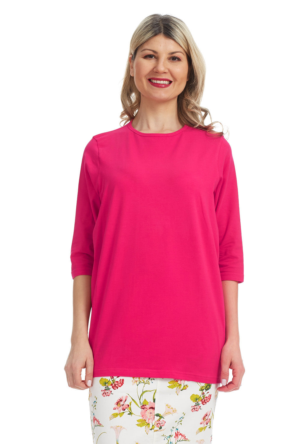 Esteez Loose Tee - Women's 3/4 Sleeve - Loose Fitting T-Shirt - FUCHSIA