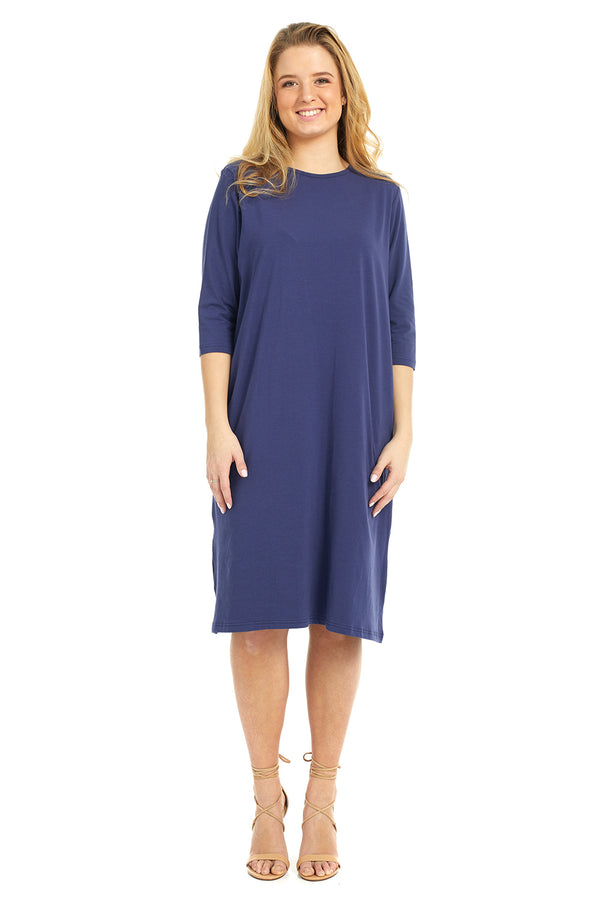 Esteez TEE Dress - Women's Casual Shift Dress - 3/4 Sleeves - NAVY