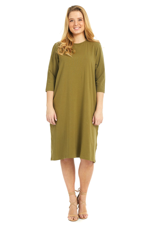 Esteez TEE Dress - Women's Casual Shift Dress - 3/4 Sleeves - OLIVE