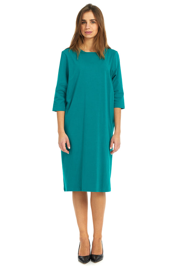 Esteez TEE Dress - Women's Casual Shift Dress - 3/4 Sleeves - TEAL