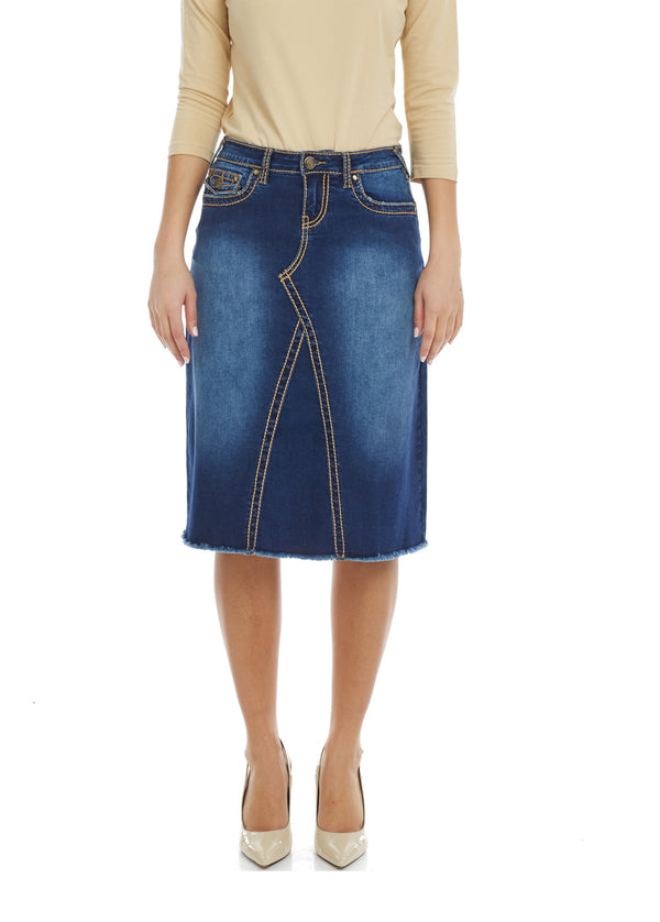 Esteez VICTORIA Skirt - Modest Below the Knee A-line Jean Skirt for Women - BLUE