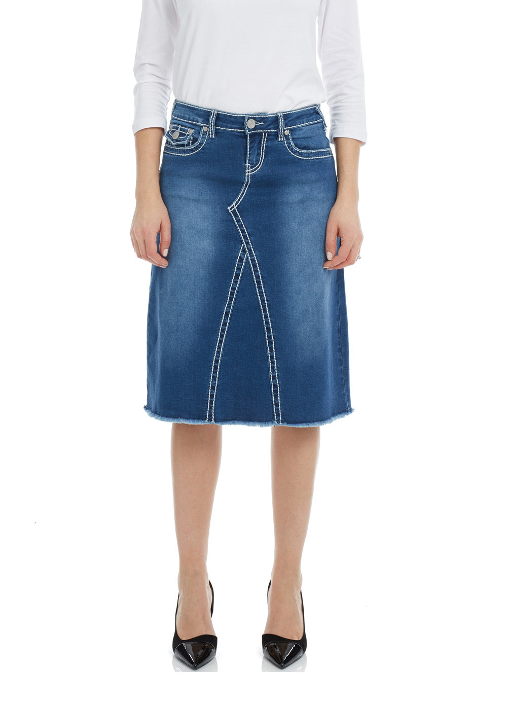 Esteez VICTORIA Skirt - Modest Below the Knee A-line Jean Skirt for Women - CLASSIC BLUE