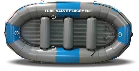 Foot cup and valve position on these 13' SOTAR Liquid Rafts