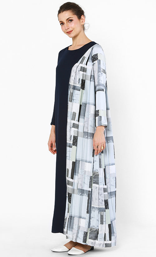 LOKA DRESS NAVY LIGHT GREY