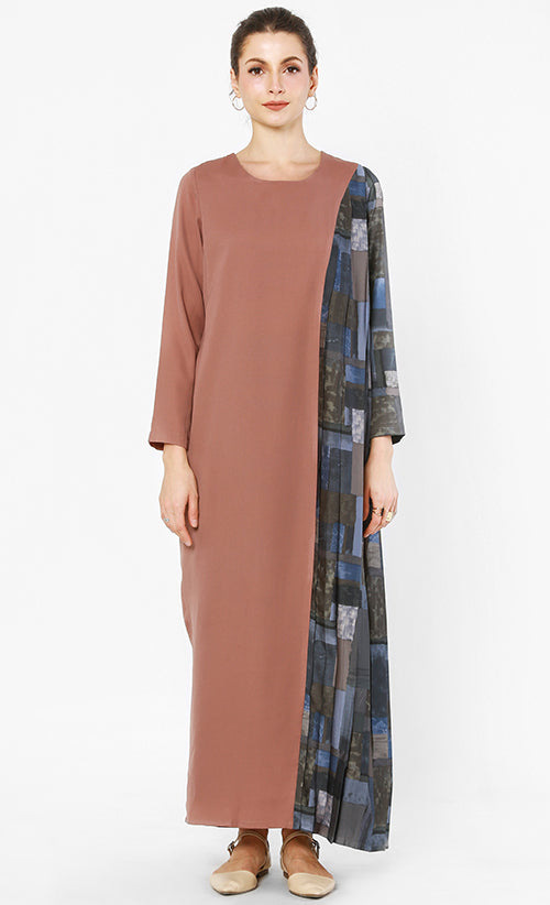 LOKA DRESS BROWN NAVY