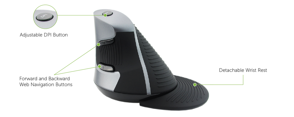 Delux Vertical Ergonomic Mouse Features