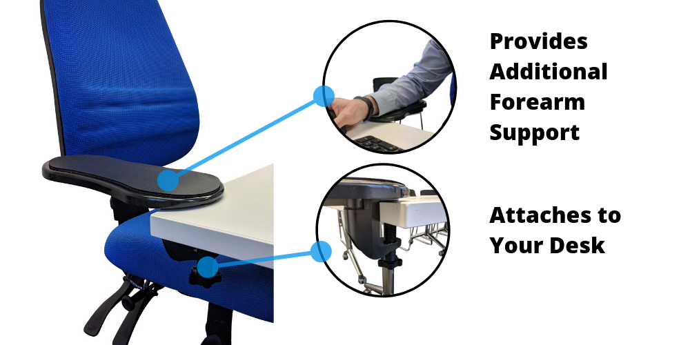 Ergonomic Forearm Rest attaches to desk