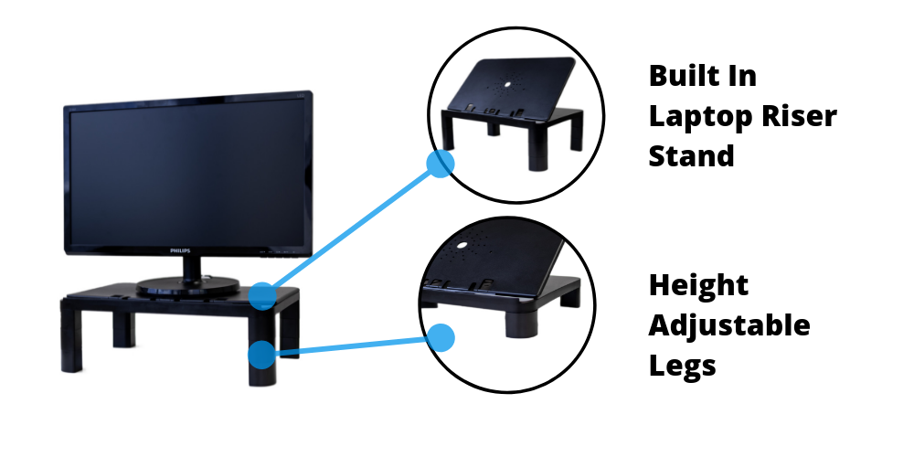 Multipurpose laptop and computer monitor riser stand