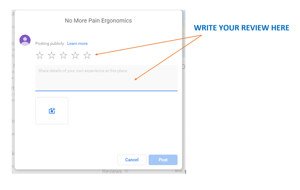 how to leave google review no more pain ergonomics