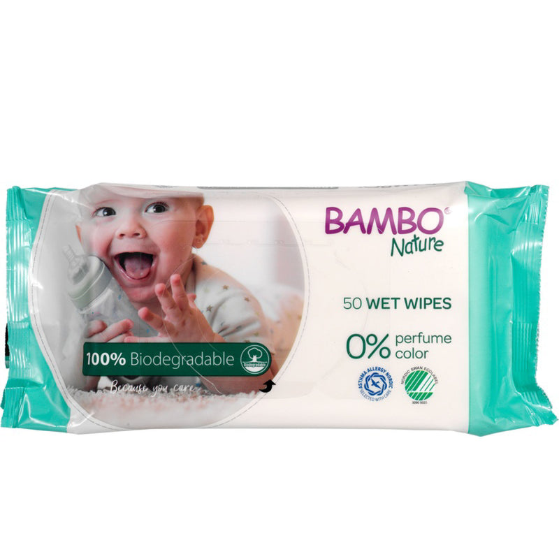 Bambo Nature 100% Biodegradable Wet Wipes 50pcs