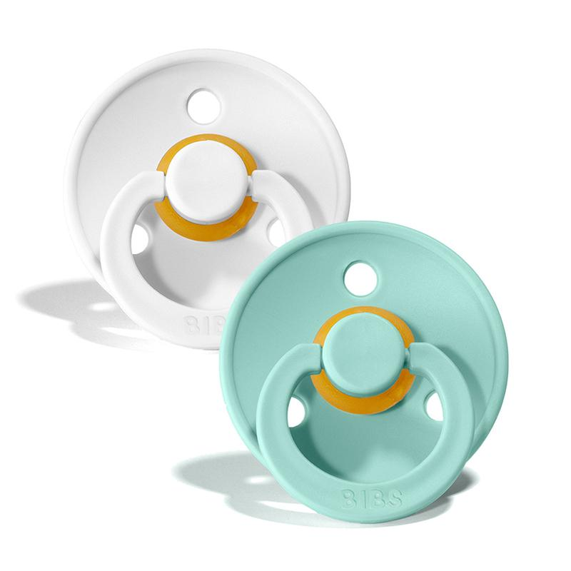 Bibs Natural Rubber Pacifier (2-Pack) - White/Mint