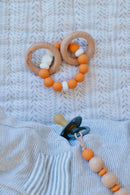 Petit Tippi Pacifier Clip & Teether Rattle Gift Set - Ochre Orange
