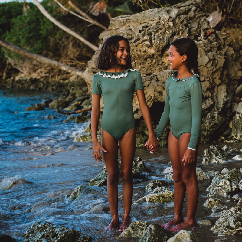 Folpetto Girl Surfsuit Sofia Sage Green and Ivory