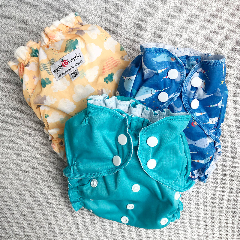 AppleCheeks One Size All in One Cloth Diaper 3 pack