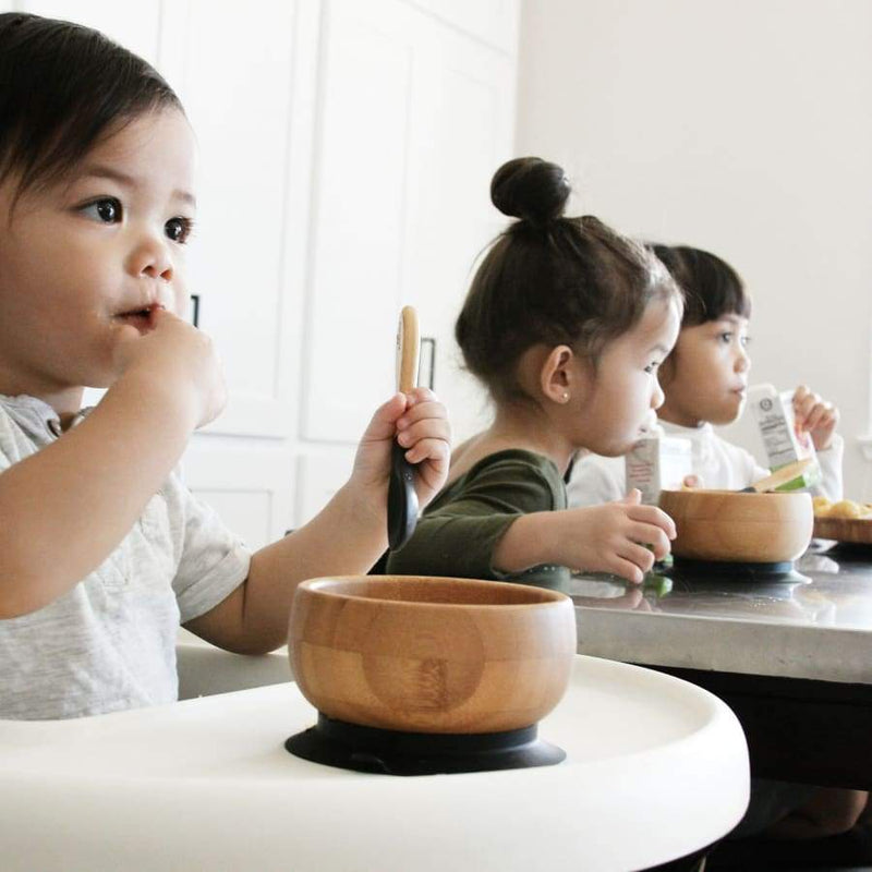 Avanchy Bamboo Baby Suction Bowl & Spoon - Black | Avanchy | Baby Feeding